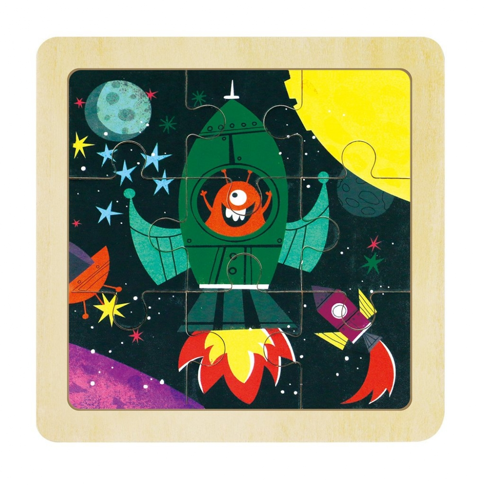 children wooden puzzle - rocket outer space
