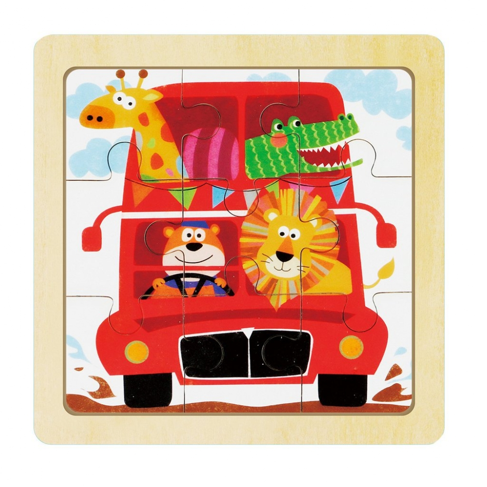 children wooden puzzle - happy journey
