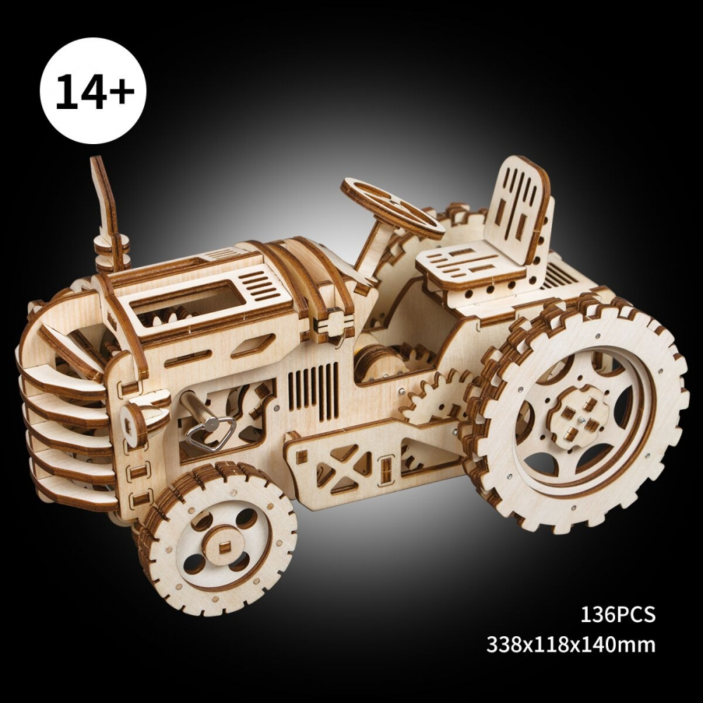3d tractor with mechanical gears wooden puzzle