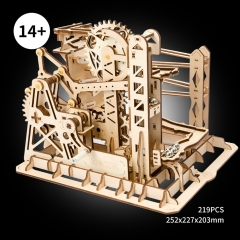 3d wooden puzzle - marble run lift coaster
